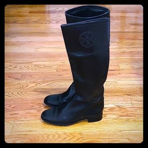 Tory Burch Black Leather Logo Riding Boots 8